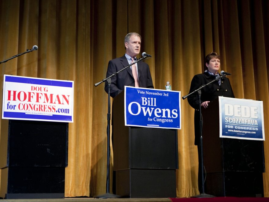 Democrat Bill Owens debates his then-opponent, Republican Dede Scozzafava, last week. Scozzafava dropped out of the race for the 23rd Congressional District seat on Saturday, and has endorsed Owens. Owens is running against conservative Doug Hoffman, who did not attend this debate.