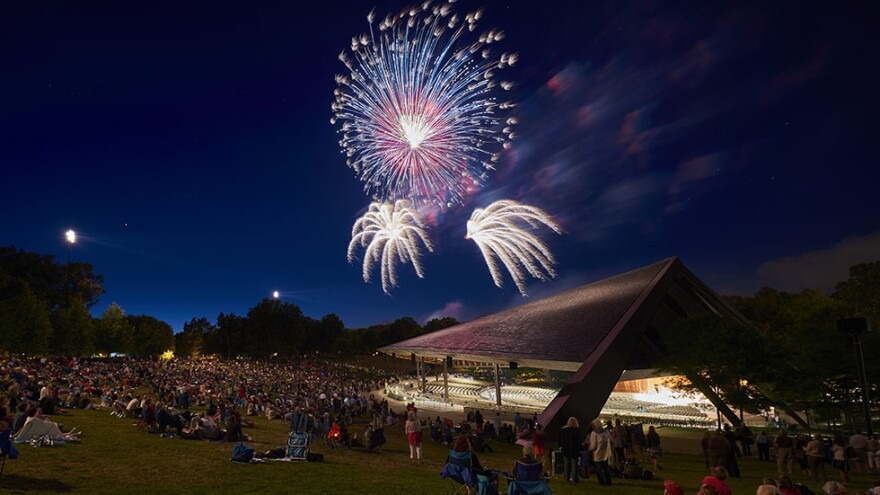 photo of fireworks oveer blossom music center