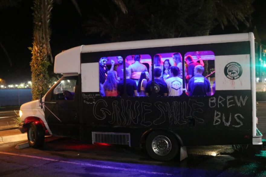 """The Gainsville Brew Bus, a common sight for Midtown partiers, packs up students to """"deliver meaningful and memorable experiences to our community and patrons,"""" according to the company's website."""