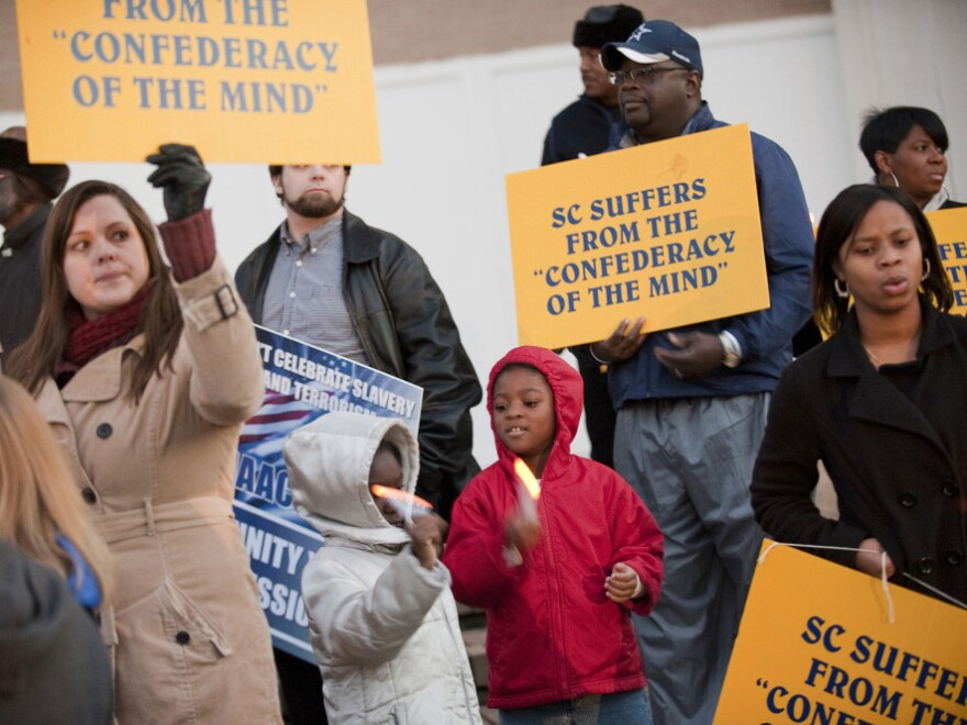 """In December, the NAACP organized a protest against a """"Secession Ball"""" held to commemorate the anniversary of South Carolina's decision 150 years ago to secede from the United States."""