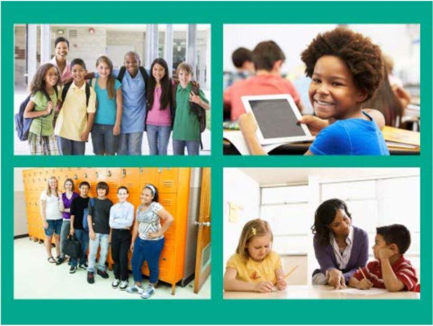 four photos of students and teachers