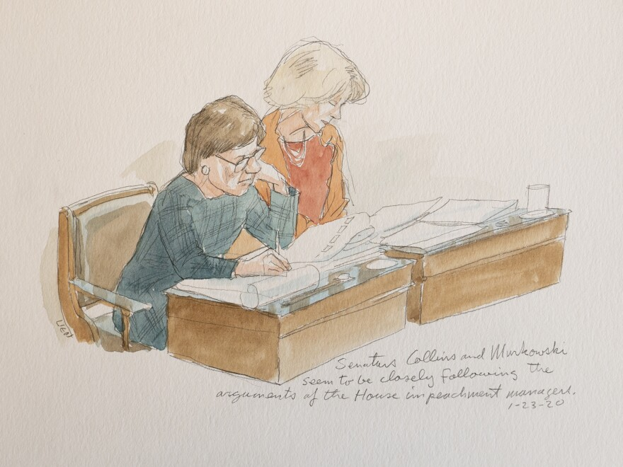"A sketch of Sens. Susan Collins of Maine and Lisa Murkowski of Alaska during the impeachment trial of President Trump. ""They seem to be ... following along the arguments very closely,"" says sketch artist Art Lien."