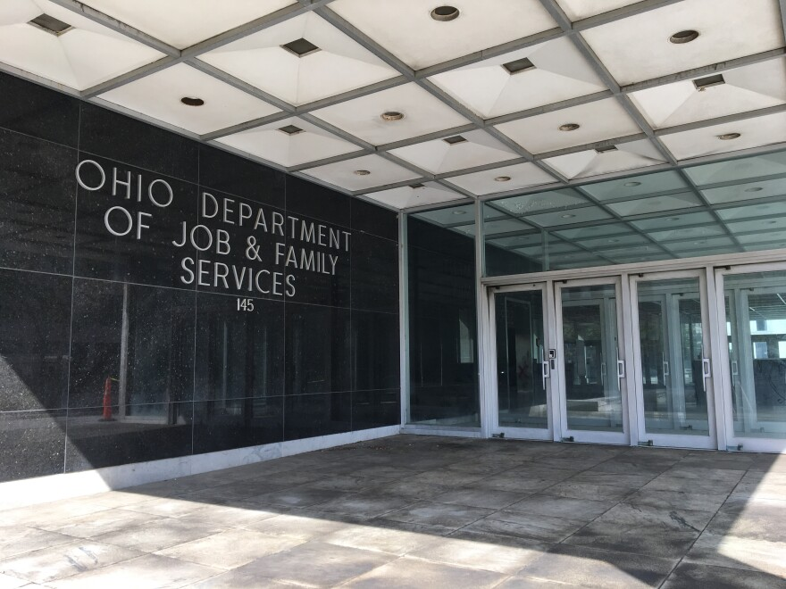 The Ohio Department of Job and Family Services building in downtown Columbus.