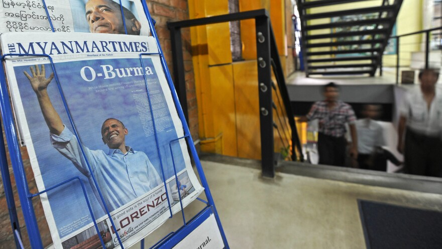 A newspaper with a front-page photo of President Obama is displayed at a press house in downtown Yangon, Myanmar, on Thursday, ahead of Obama's visit.