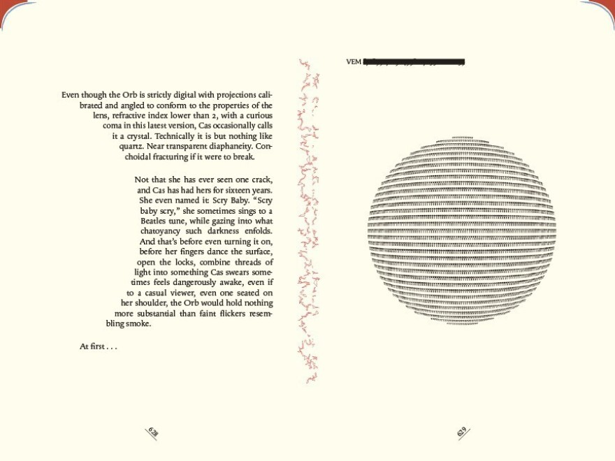 Pages 628-629 in <em>The Familiar, Volume 1</em>. The colors on the upper corners of the pages indicate the character who is narrating.