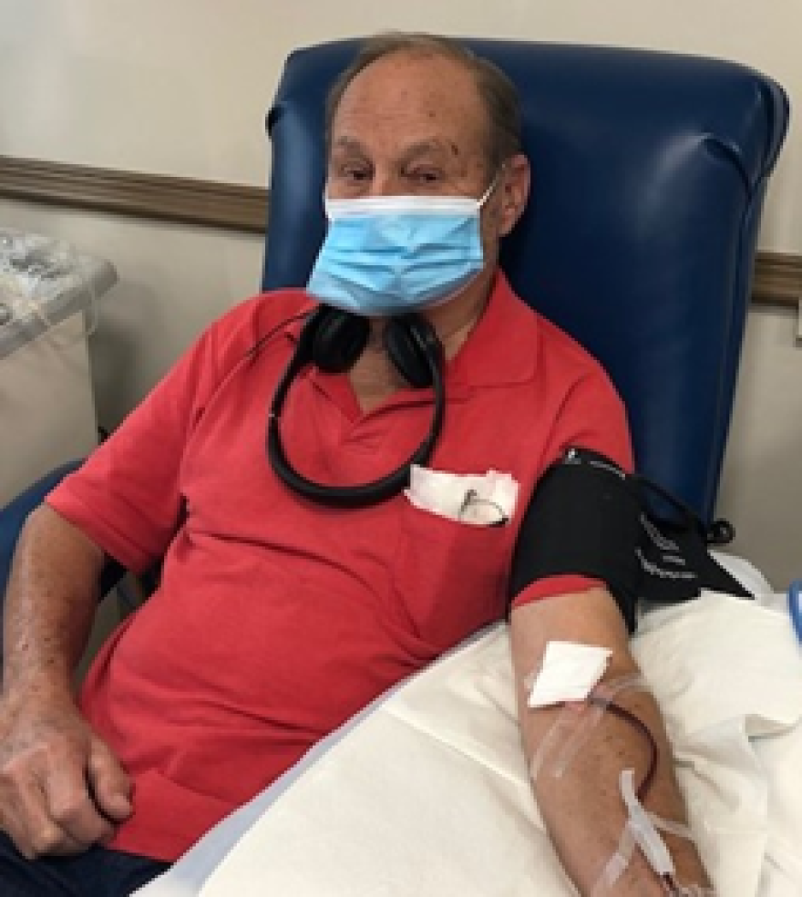 Roger North is pictured donating blood platelets.
