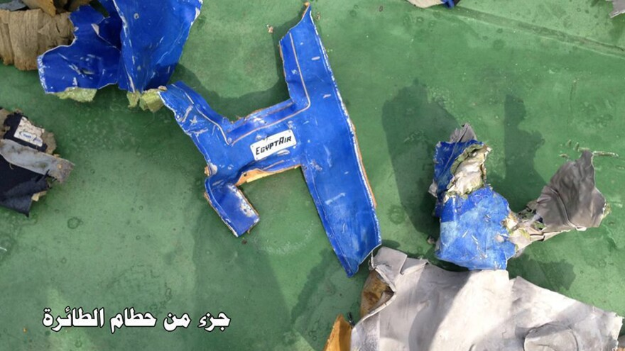 "The official Facebook page of the Egyptian Armed Forces spokesman shows part of the wreckage from EgyptAir Flight 804. The Arabic reads, ""Part of the plane's debris."""
