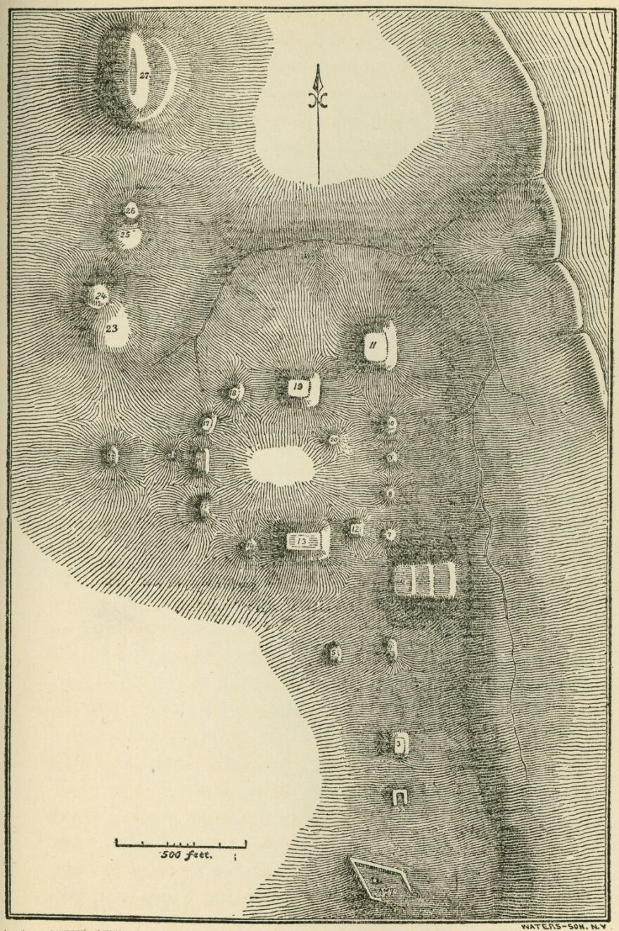"""This 1819 survey map by Thomas Say and Titian Peale was reproduced in """"Notes on Aboriginal Inhabitants of Missouri,"""" Missouri Historical Society Collections, Volume IV, No. 1, p.89."""