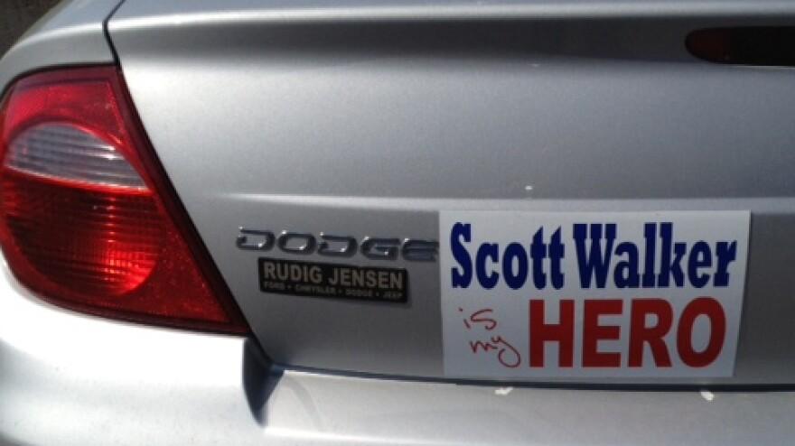 A pro-Scott Walker bumper sticker seen on a car in Wisconsin.