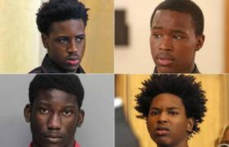 Clockwise, from top left: Kenoldo Alexis, Derek Bynum, Steven Joseph and David Lombard are accused of raping a mentally handicapped student at North Miami Senior High School.