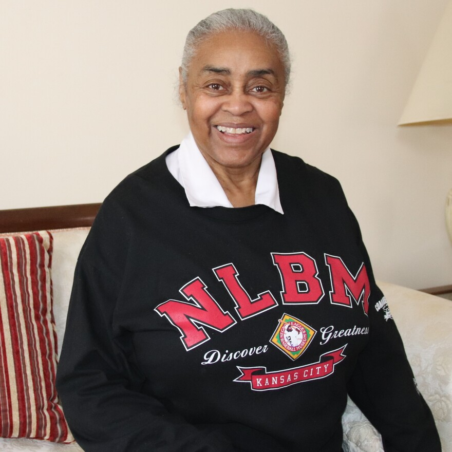 Minnie Forbes at her home in Grand Rapids, Mich., wearing a Negro Leagues Baseball Museum shirt. The museum is in Kansas City, Mo., where the first Negro League was founded.