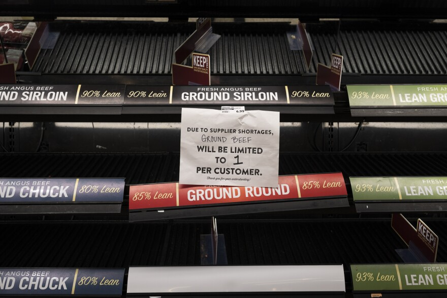 The pandemic has led to empty meat displays like this one at a Dierbergs in Manchester. (March 21, 2020)