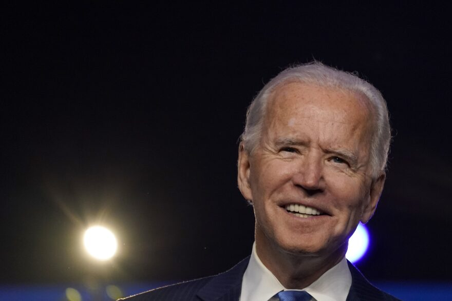 President-elect Joe Biden addresses the nation at the Chase Center November 06, 2020 in Wilmington, Delaware. (Drew Angerer/Getty Images)