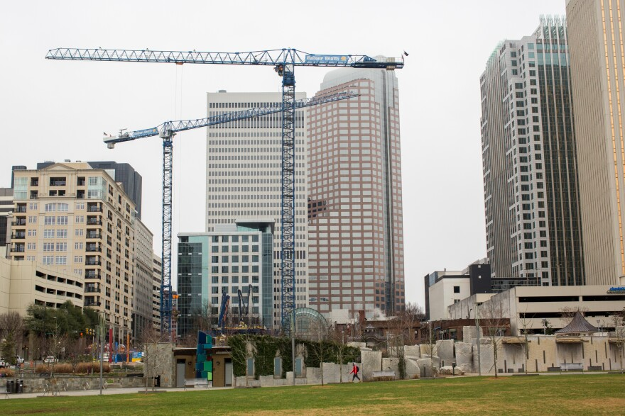 Cranes pepper the skyline in Charlotte, N.C., a sign of the region's strong economic growth.