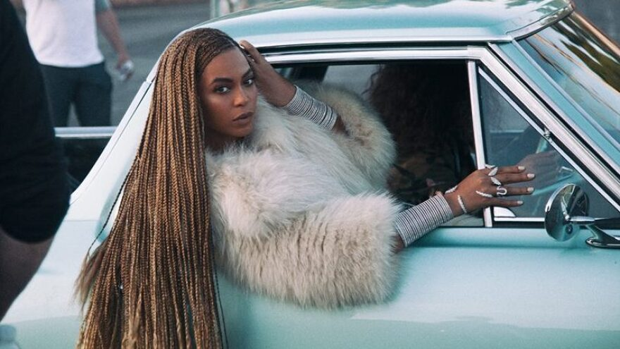 """Beyoncé, on set for the """"Formation"""" video shoot."""