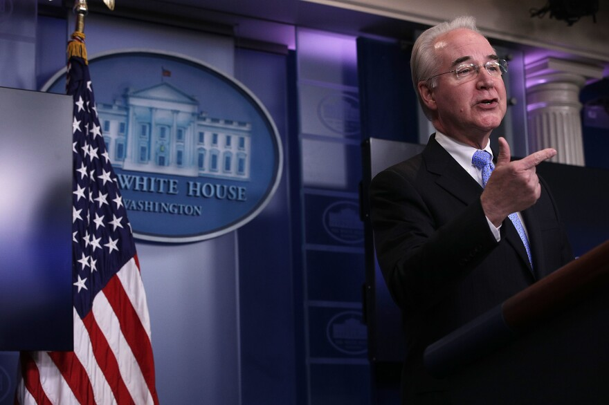 U.S. Secretary of Health and Human Services Tom Price speaks during the White House daily press briefing March 7, 2017 at the White House in Washington, DC. Secretary Price answered questions on the new healthcare bill during the briefing.