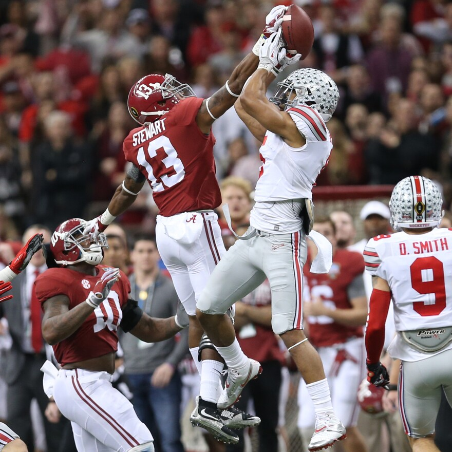 Ohio State Buckeyes wide receiver Evan Spencer (6) intercepts the final, Hail Mary attempt by Alabama as time runs down for the win during the 2015 Allstate Sugar Bowl at the Superdome in New Orleans.