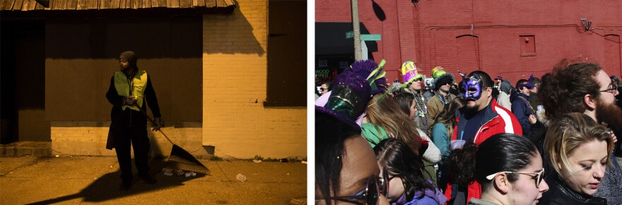 Left: Oscar More cleans up on Saturday evening. Right: Revelers crowd the streets during the day. (Mardi Gras 2017)