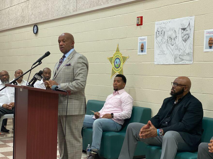 Sheriff Garry McFadden speaks to inmates at the Mecklenburg County Detention Center on November 21st