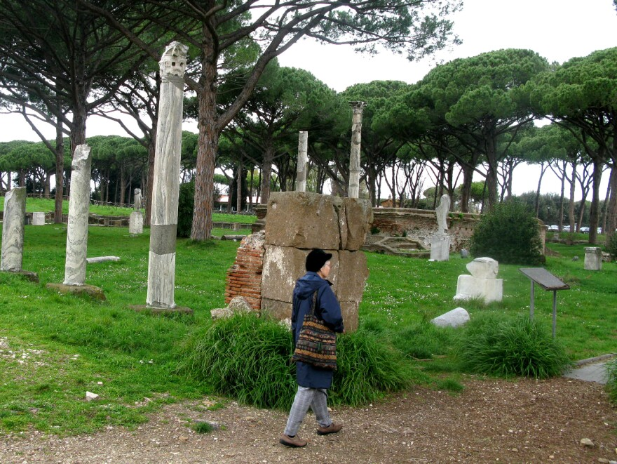 Sister Carolyn Osiek guides American pilgrims through Ostia — the ancient port city of Rome — for prayer and songs.