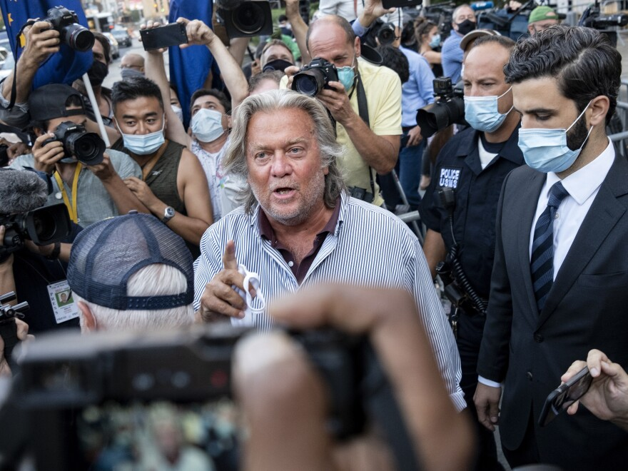 Steve Bannon leaves federal court, Thursday, Aug. 20, 2020, after pleading not guilty to charges that he ripped off donors to an online fundraising scheme to build a southern border wall.