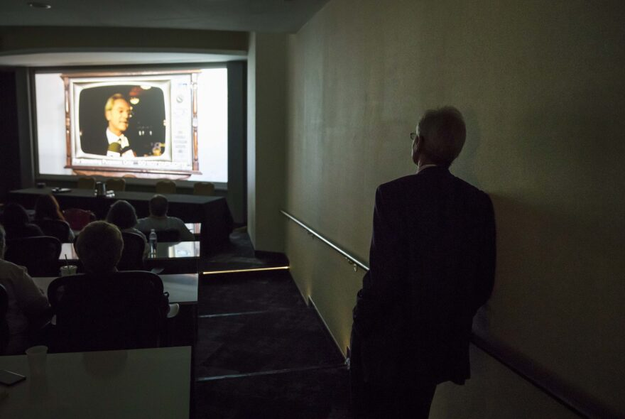 """Former Alabama Gov. Don Siegelman watches a screening of the documentary """"Atticus v. The Architect"""" about his prosecution and imprisonment during the Netroots Nation conference in Atlanta, Thursday, Aug. 10, 2017. (David Goldman/AP Photo)"""