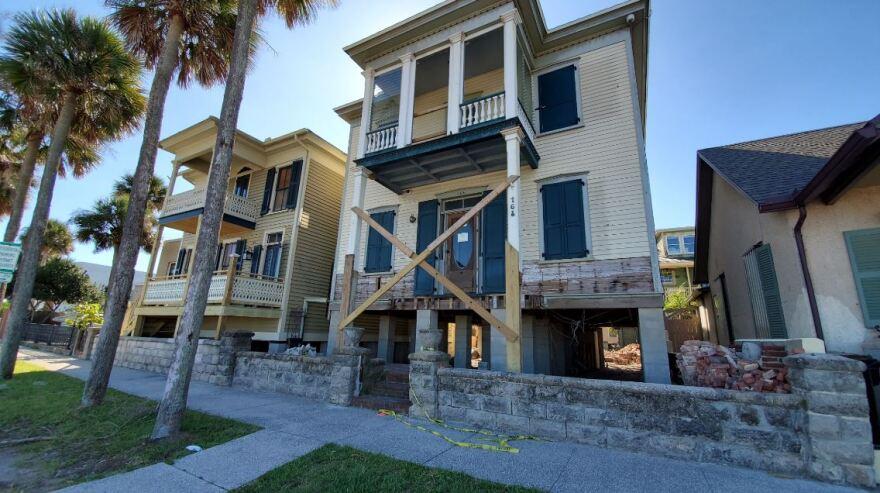 Homes being raised on Avenida Menendez in St. Augustine.