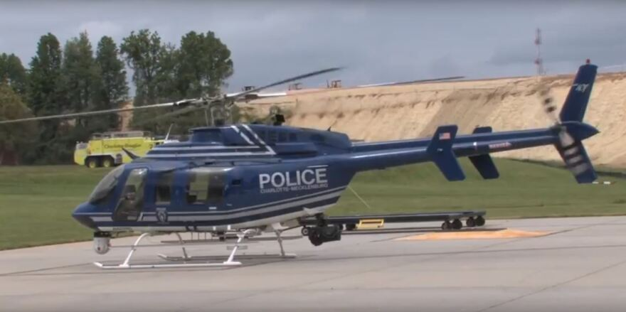 A CMPD helicopter like this one was involved in Wednesday's near miss with a drone.