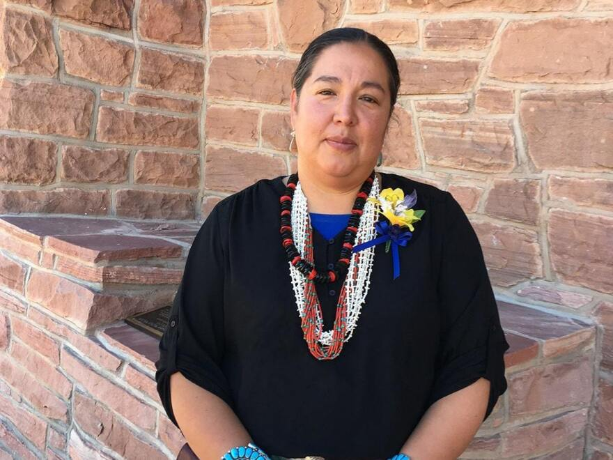 Council Delegate Amber Kanazbah Crotty outside the Navajo Nation Council Chamber in Window Rock, AZ. She says $600 million is just a Band-Aid.
