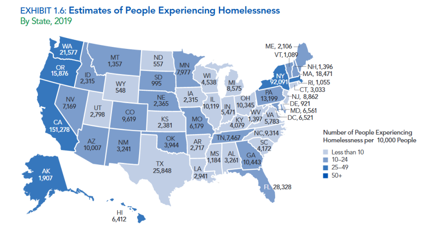 A snapshot of homelessness in the U.S. for 01/31/2019.