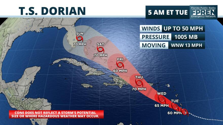 Florida is in the forecast track as Tropical Storm Dorian continues to move northwest.
