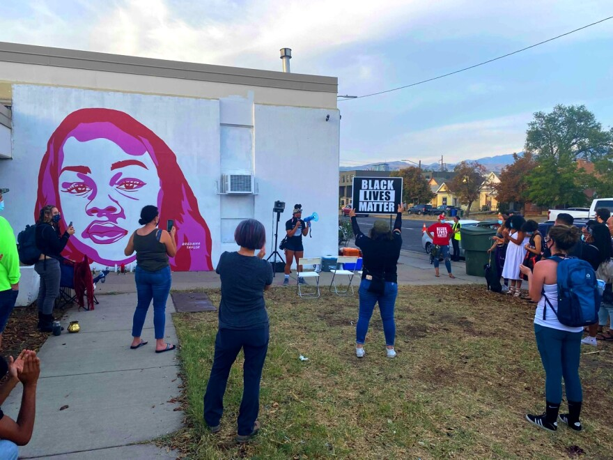 A photo of people gathered at the Breonna Taylor Vigil in Salt Lake City.