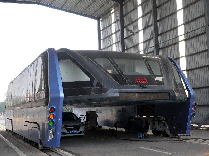 Qinhuangdao's elevated bus, seen last month in this photo, will not move forward. The municipal government denied it had endorsed the project, and last month began dismantling the test site.