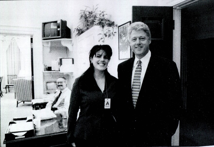 This undated photo released by the House Judiciary Committee in 1998 shows Monica Lewinsky meeting President Bill Clinton at a White House function.