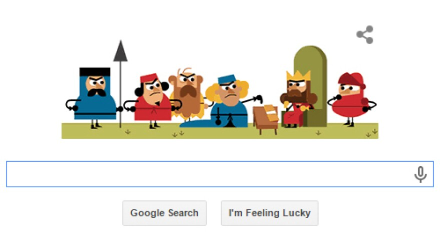 A Google Doodle shows King John affixing his seal to the Magna Carta in 1215.