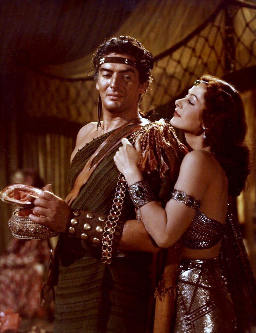 "Hedy Lamarr and Victor Mature in ""Samson and Delilah"" (1949)."