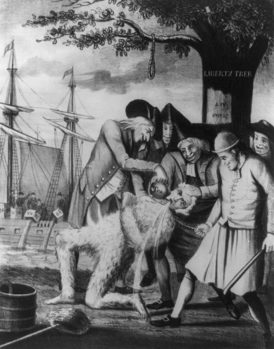 """During the Revolutionary War, many loyalists were treated brutally --€"""" like the tarred and feathered man in this print. When the war wrapped up, loyalists often found they had to fend for themselves, or flee."""