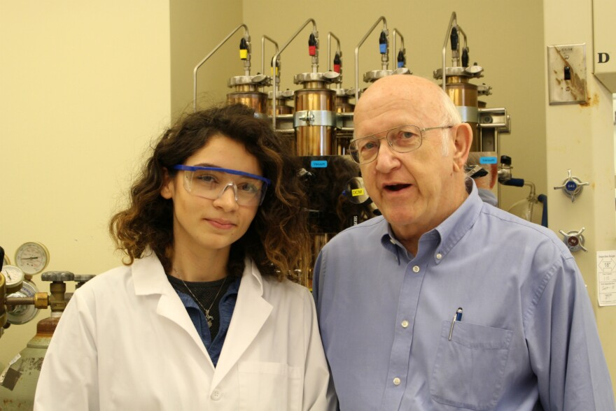 Ranad Humeidi poses for a portrait with her research advisor, UTSA chemistry professor Michael Doyle.