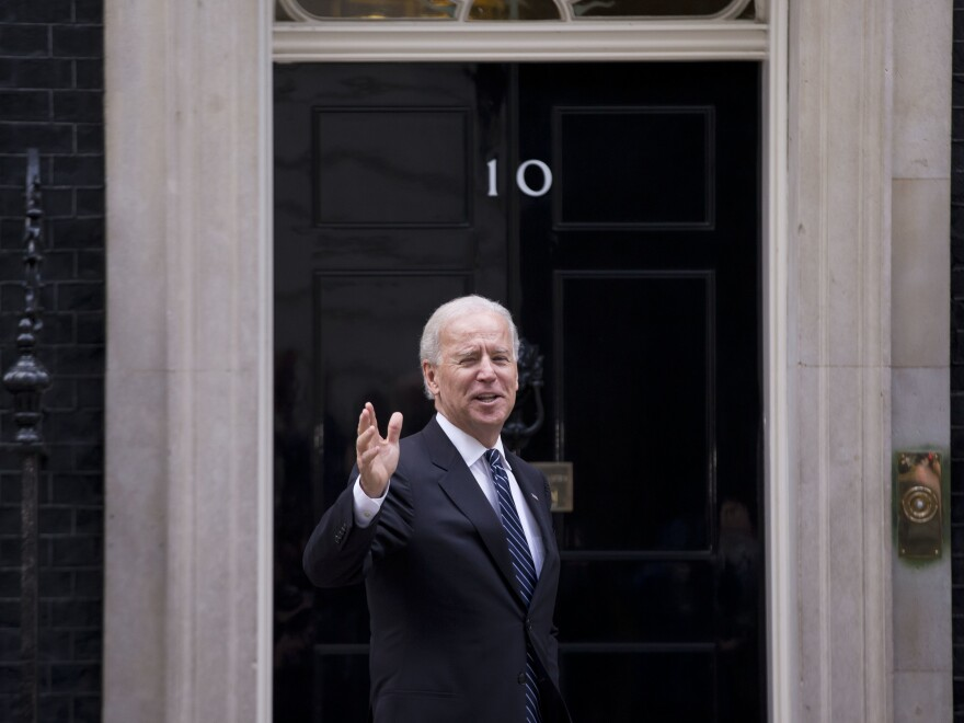 Joe Biden arrives at 10 Downing Street in London while serving as vice president in 2013.
