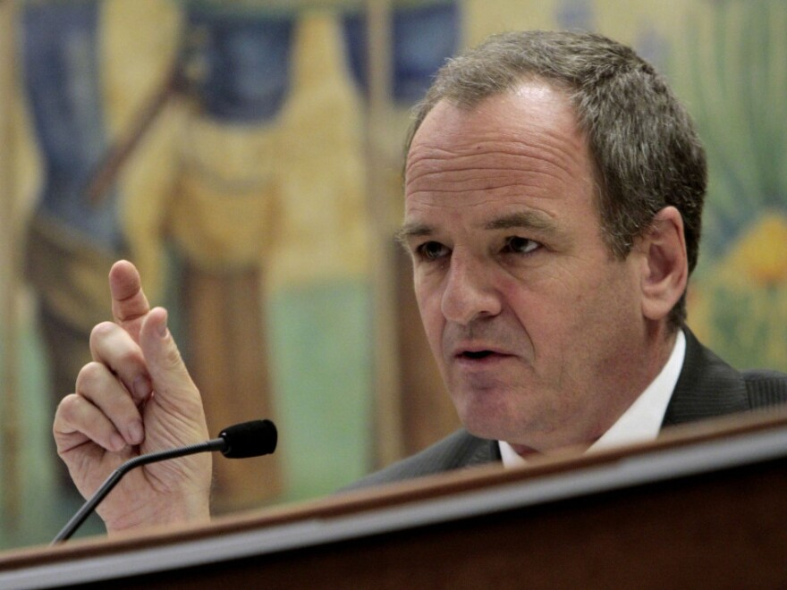 """Republican state Sen. Sam Blakeslee, shown at a committee hearing earlier this year, says the Atascadero hospital has """"an inherently dangerous population."""" He's proposed new laws designed to make the hospital safer, including a bill that would make it easier to medicate patients against their will."""