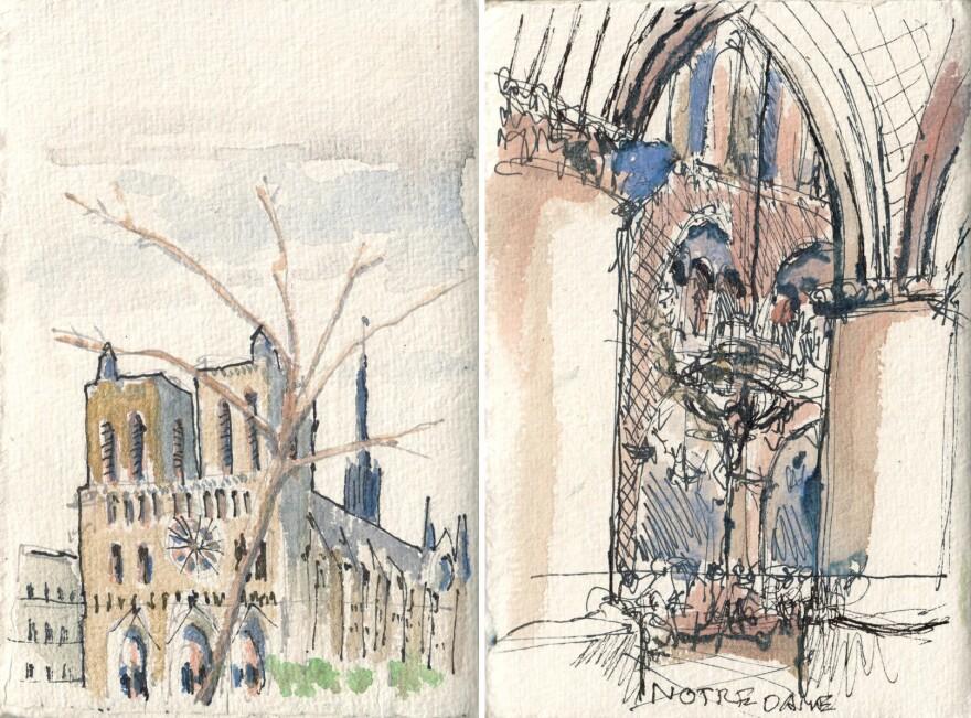 Notre Dame watercolors