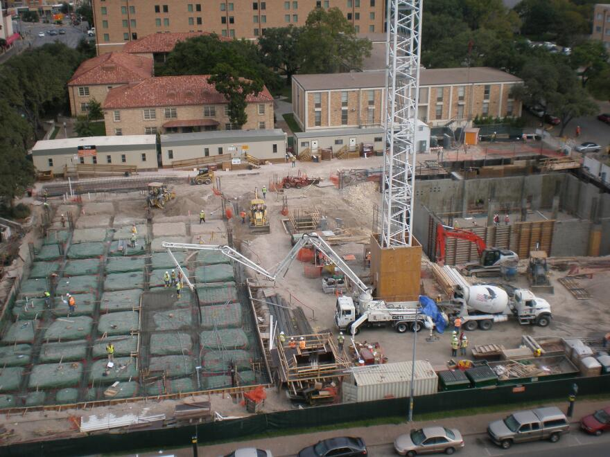 Foundation pour on Belo Building in Austin