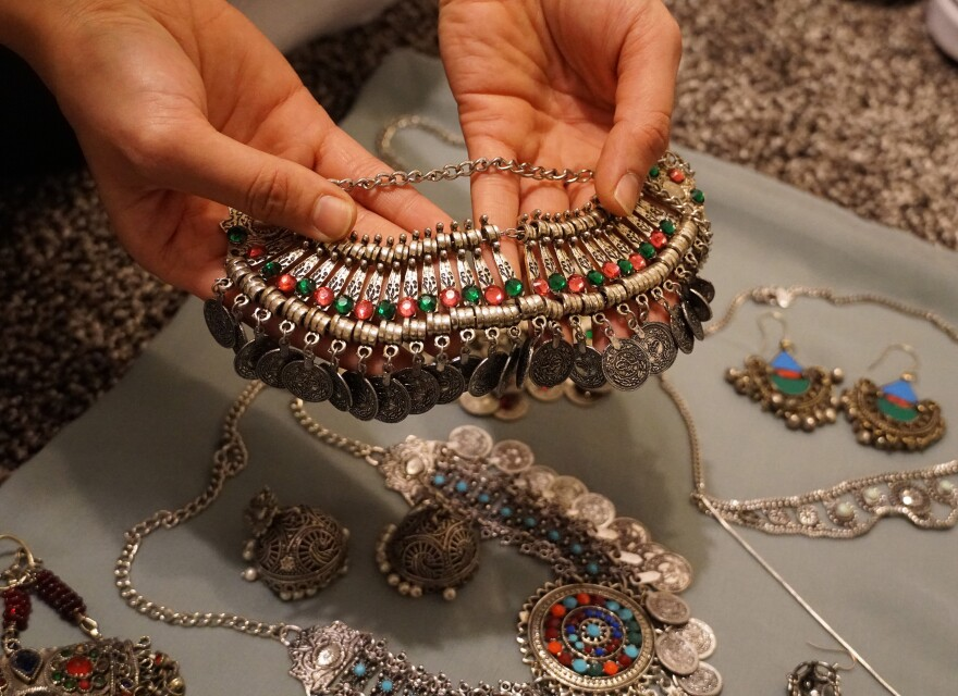 Sidiqi adorns her outfits with costume jewelry from an Afghani bazaar.