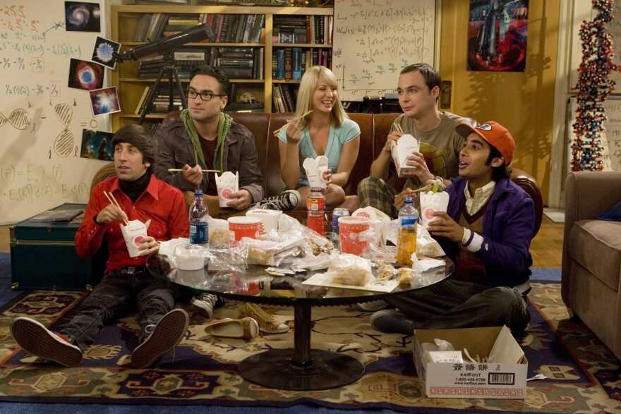 "The characters in <em>The Big Bang Theory </em>were ""outliers"" who formed a ""surrogate family,"" says show co-creator Chuck Lorre. Above, Simon Helberg, left, Johnny Galecki, Kaley Cuoco, Jim Parsons and Kunal Nayyar."