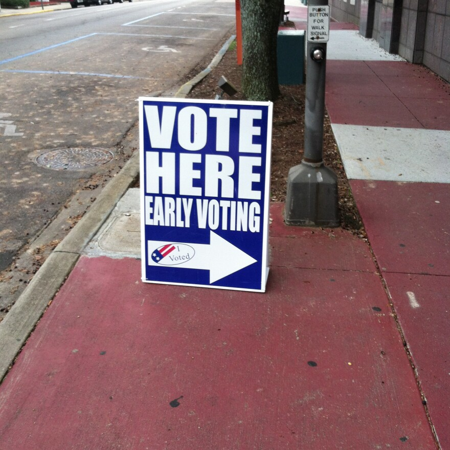 Early voting sign sits outside a precinct, guiding voters inside (2014).