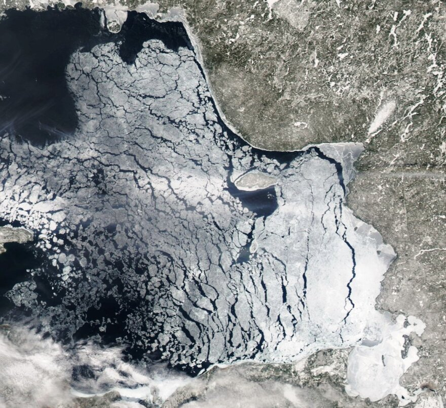 A satellite view of the ice on Lake Superior.