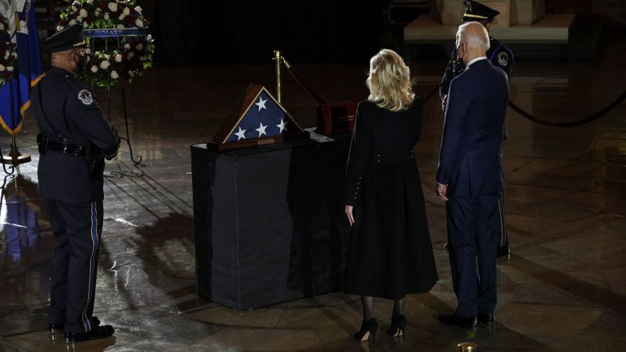 President Biden and Jill Biden pay their respects to U.S. Capitol Police Officer Brian Sicknick.
