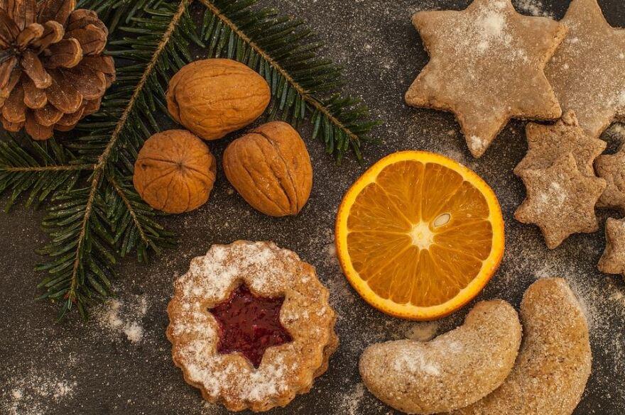 nuts, cookies, orange slice