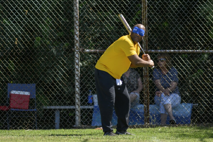 Anthony Easley, 51, is known for his hitting prowess at the annual beepball tournament. July 13, 2019