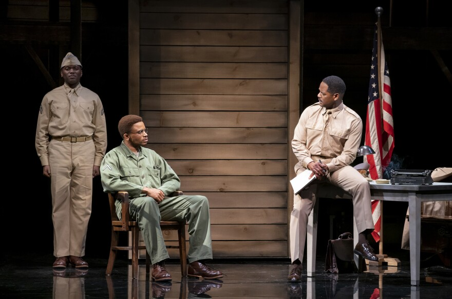<strong></strong>Nnamdi Asomugha (center) plays Private First-Class Melvin Peterson — a role performed by Denzel Washington in 1981 — in the Broadway revival of <em>A Soldier's Play.</em>